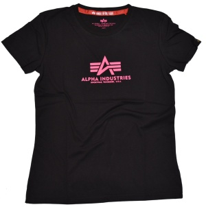 Alpha Industries Damen Basic T-Shirt in schwarz-pink