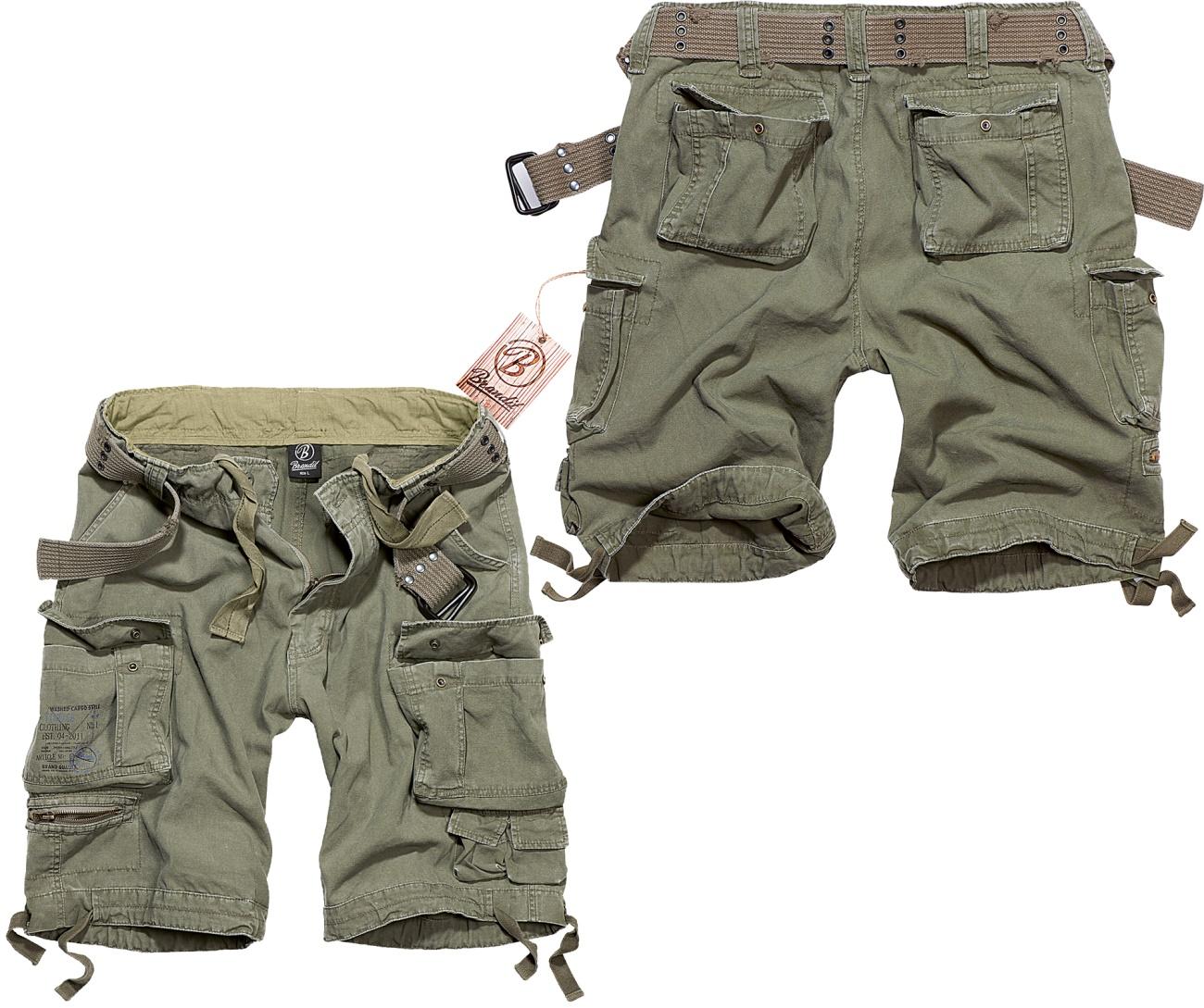 UK-Shop Online-Einzelhändler vollständig in den Spezifikationen Brandit Short Savage Vintage kurze Cargo- Hose im Armystyle mit vielen  Taschen leicht überknielang - Brandit bei Skinhead Shop - www.skinhead24.de