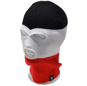 PG Wear Balaclava Sturmhaube 3-Loch schwarz weiß rot gestreift