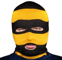 PG Wear Balaclava Sturmhaube 3-Loch schwarz/gelb