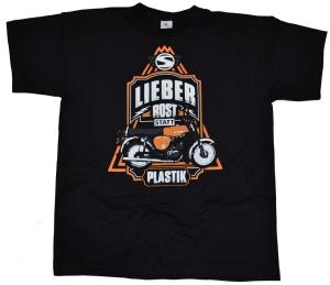Simson Motiv T-Shirt Lieber Rost statt Plastik G405U Druck orange