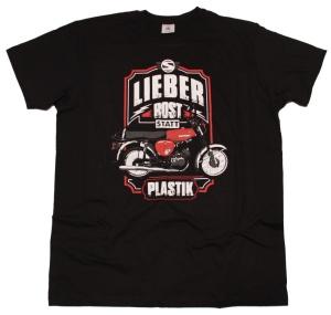 Simson Motiv T-Shirt Lieber Rost statt Plastik G443U Druck rot
