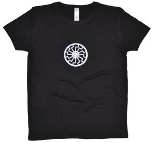 Damen T-Shirt Schwarze Sonne mit kleinem Brustdruck K2
