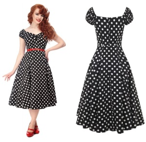 Petticoatkleid Rock n Roll Kleid Dolores Doll gepunktet Collectif bis Plussize