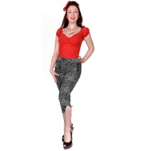 Damen Caprihose Leopard Rockabilly Collectif