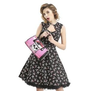 Handtasche/Henkeltasche /Rockabilly Bag pink Skull