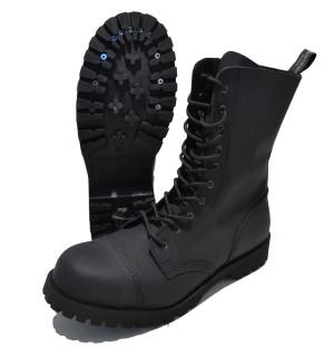 Boots and Braces Stiefel 10-Loch mit Stahlkappe mattschwarz