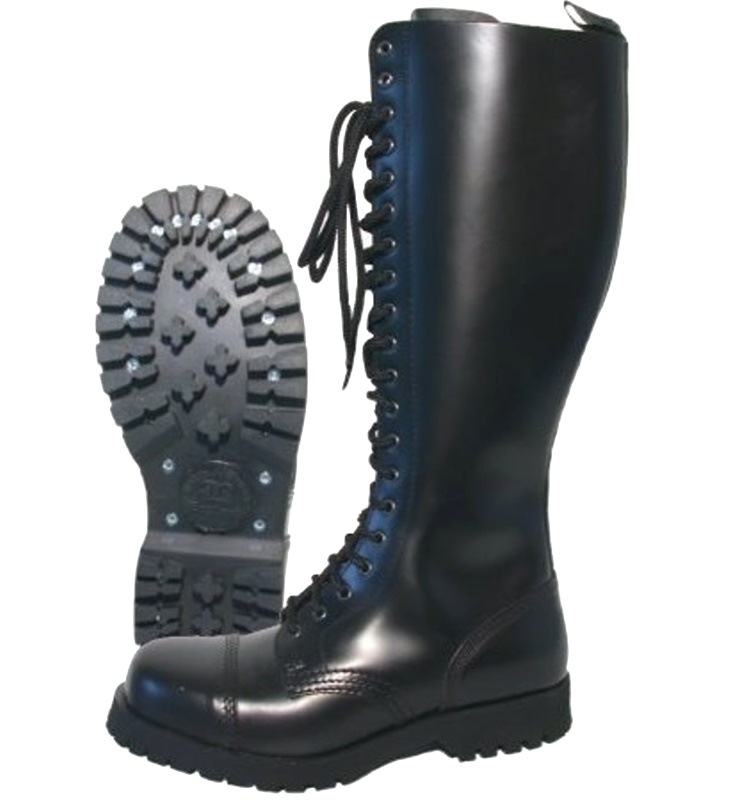 Boots and Braces 20 Loch Stiefel mit stahlkappe in schwarz Boots and Braces bei Skinhead Shop