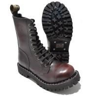 Steel 10 Loch Boots Schnürstiefel Springerstiefel burgundy rub off