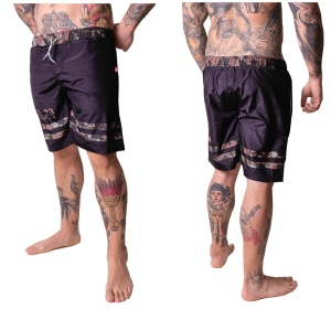 Boxing Connection Label 23 Badeshorts Striped camo