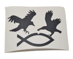 Aufkleber Antichrist Vogel fängt Fisch in schwarz