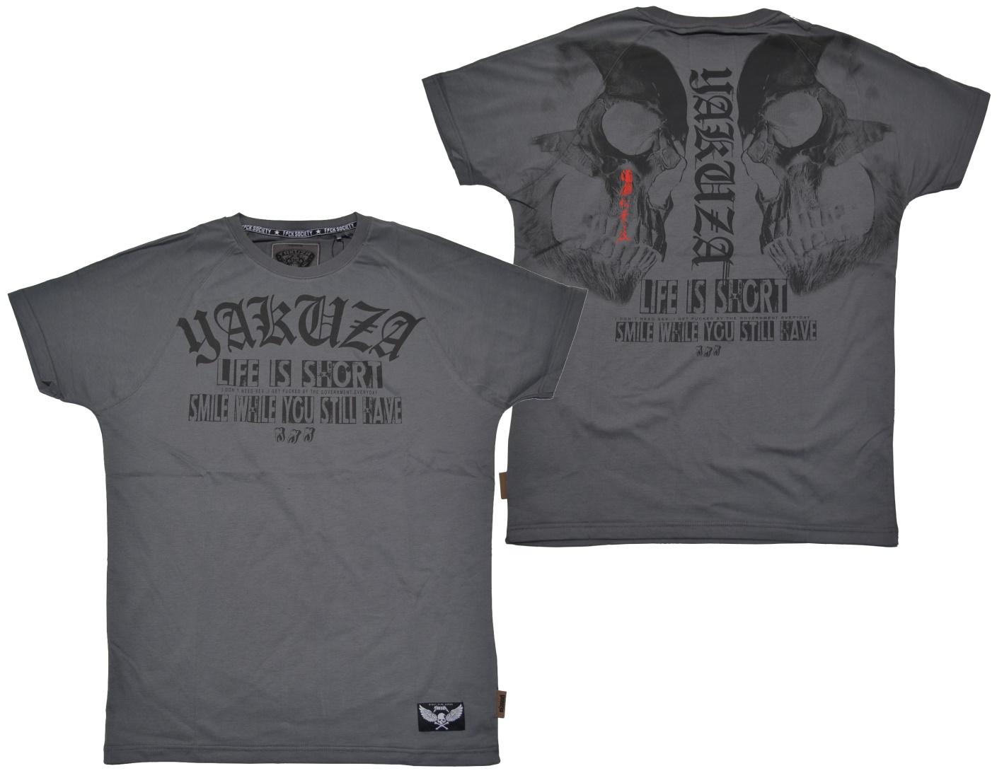 Yakuza Ink T-Shirt Life is Short in battleship grey